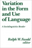 9780878402144 : variation-in-the-form-and-use-of-language-fasold